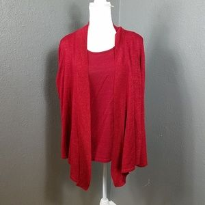 Easywear by Chico's Red Twinset Holiday Sweater XL